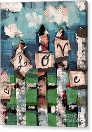 Acrylic Print featuring the mixed media Love Fence by Carrie Joy Byrnes