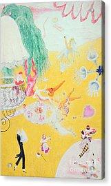 Love Flight Of A Pink Candy Heart Acrylic Print by  Florine Stettheimer