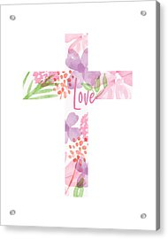Love Floral Cross- Art By Linda Woods Acrylic Print