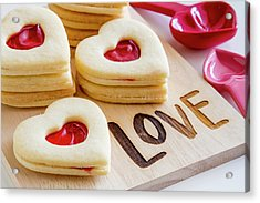 Acrylic Print featuring the photograph Love Heart Cookies by Teri Virbickis