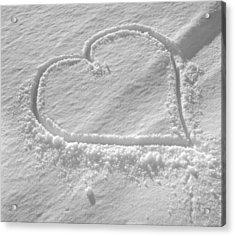 Love Heart In The Snow Acrylic Print by German School