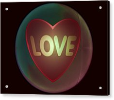 Love Heart Inside A Bakelite Round Package Acrylic Print