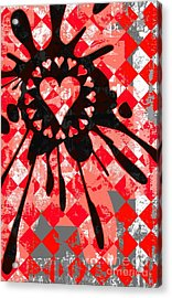 Love Heart Splatter Acrylic Print by Roseanne Jones