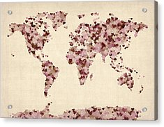 Love Hearts Map Of The World Map Acrylic Print by Michael Tompsett