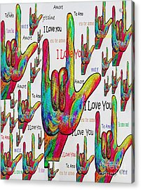 Love In Any Language Acrylic Print by Eloise Schneider
