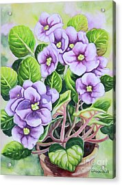 Acrylic Print featuring the painting Love In Purple 1 by Inese Poga