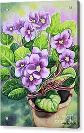 Acrylic Print featuring the painting Love In Purple 2 by Inese Poga