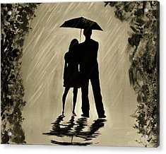 Love In The Rain D Acrylic Print by Leslie Allen