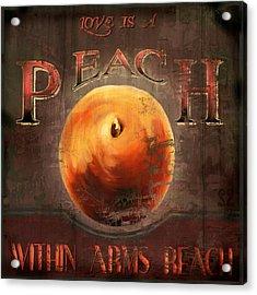 Love Is A Peach Acrylic Print by Joel Payne