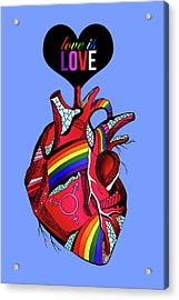 Love Is Love On Blue Acrylic Print