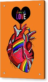 Love Is Love On Orange Acrylic Print