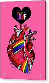 Love Is Love On Pink Acrylic Print