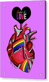 Love Is Love On Purple Acrylic Print