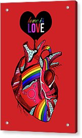 Love Is Love On Red Acrylic Print