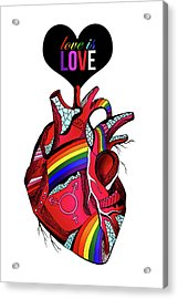 Love Is Love On White Acrylic Print