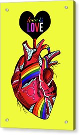 Love Is Love On Yellow Acrylic Print