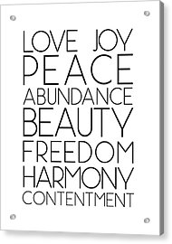 Love Joy Peace Beauty Virtues Acrylic Print