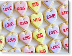 Acrylic Print featuring the photograph Love Kiss Hug Heart Cookies by Teri Virbickis