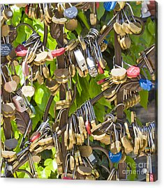 Acrylic Print featuring the photograph Love Locks Square by Chris Dutton