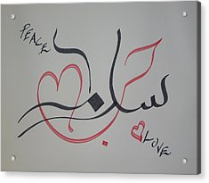 Love N Peace In Red N Black Acrylic Print by Faraz Khan