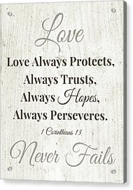 Love Never Fails- Art By Linda Woods Acrylic Print by Linda Woods