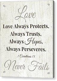Love Never Fails- Art By Linda Woods Acrylic Print
