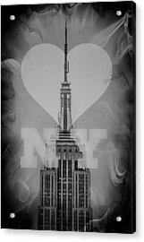 Love New York Bw Acrylic Print by Az Jackson