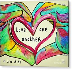 Love One Another John 13 34 Acrylic Print by Eloise Schneider