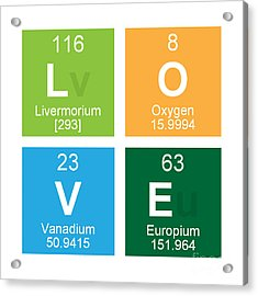 Love Periodic Table Acrylic Print by Edward Fielding