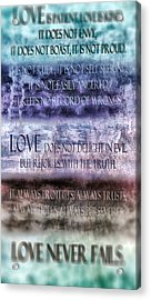 Acrylic Print featuring the digital art Love Rejoices With The Truth by Angelina Vick