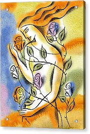 Acrylic Print featuring the painting Love, Roses And Thorns by Leon Zernitsky