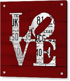 Love Sign Philadelphia Recycled White Vintage License Plates On Red Barn Wood Acrylic Print by Design Turnpike