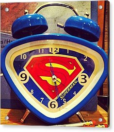 Superman Clock Acrylic Print