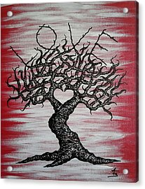Acrylic Print featuring the drawing Love Tree Art by Aaron Bombalicki