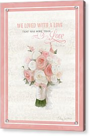 Love Typography Bridal Bouquet Damask Lace Coral Peach Blush Acrylic Print by Audrey Jeanne Roberts