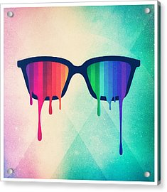 Love Wins Rainbow - Spectrum Pride Hipster Nerd Glasses Acrylic Print