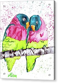 Lovebirds Acrylic Print by D Renee Wilson