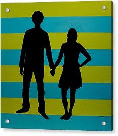 Lovebirds In Silhouette Acrylic Print by Ramey Guerra