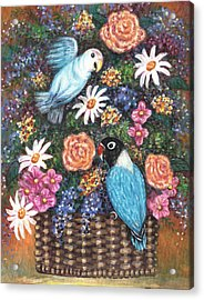 Lovebirds Two Acrylic Print by Linda Mears
