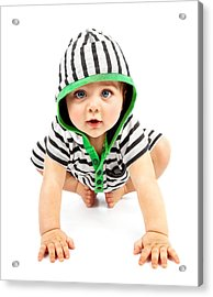 Lovely Boy Isolated On White Background Acrylic Print by Anna Om