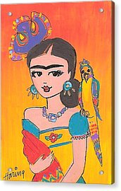 Lovely Frida And Her Parrot Acrylic Print by Karen Haring