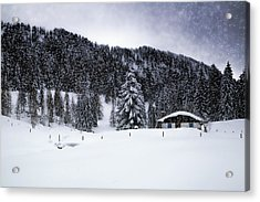 Lovely German Winter In Snow Flurry  Acrylic Print by Melanie Viola