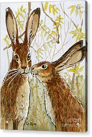 Lovely Rabbits - Little Kiss  Acrylic Print by Svetlana Ledneva-Schukina