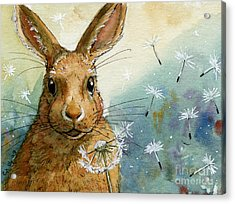 Lovely Rabbits - With Dandelions Acrylic Print by Svetlana Ledneva-Schukina