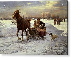 Lovers In A Sleigh Acrylic Print