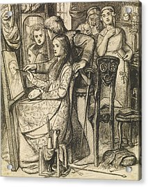 Love's Mirror Or A Parable Of Love Acrylic Print by Dante Gabriel Rossetti