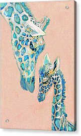 Loving Giraffes Family- Coral Acrylic Print by Jane Schnetlage