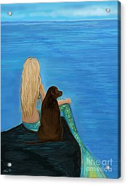Acrylic Print featuring the painting Loving Lab Loyalty by Leslie Allen