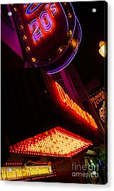 Low Angle Neon Signs At Night In North Beach San Francisco Acrylic Print by Jason Rosette