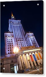 Low Angle View At Pkin Building Acrylic Print by Arletta Cwalina